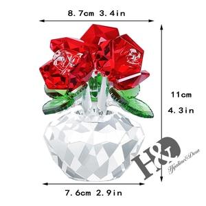 Image 2 - H & D คริสตัลสีแดง Rose Bouquet ดอกไม้ Figurines เครื่องประดับของขวัญกล่องตกแต่ง Paperweight วันวาเลนไทน์