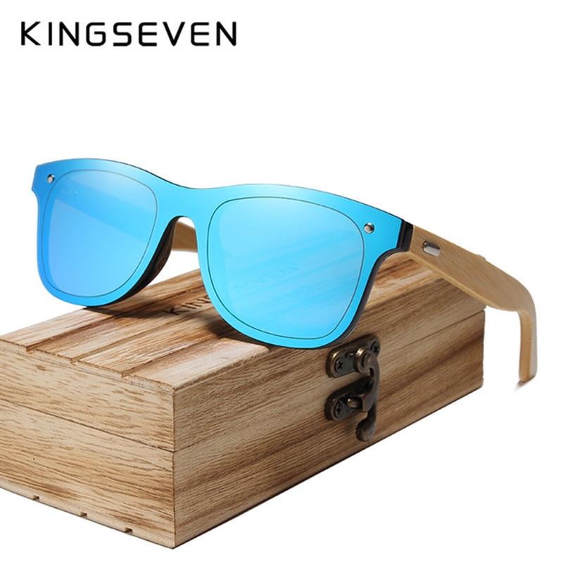 KINGSEVEN 2018 BRAND DESIGN Men Sunglasses Bamboo Sun glasses Handmade Wooden Frame UV protection Mirror Lens Gafas de sol