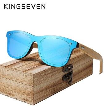 KINGSEVEN 2018 BRAND DESIGN Men Sunglasses Bamboo Sun glasses Handmade Wooden Frame UV protection Mirror Lens Gafas de sol Men's Glasses