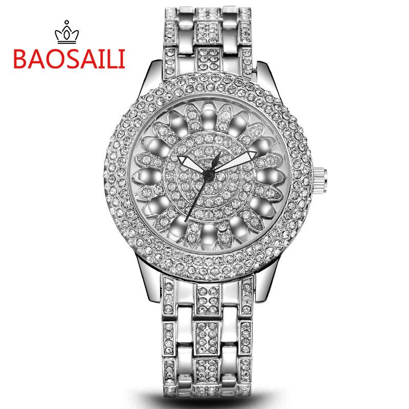 Prix pour BSL1031 BAOSAILI Classique Lotus Strass Bracelet En Alliage Cas Arrière En Acier Inoxydable Montre-Bracelet pour Femmes De Mode Bracelet Montre