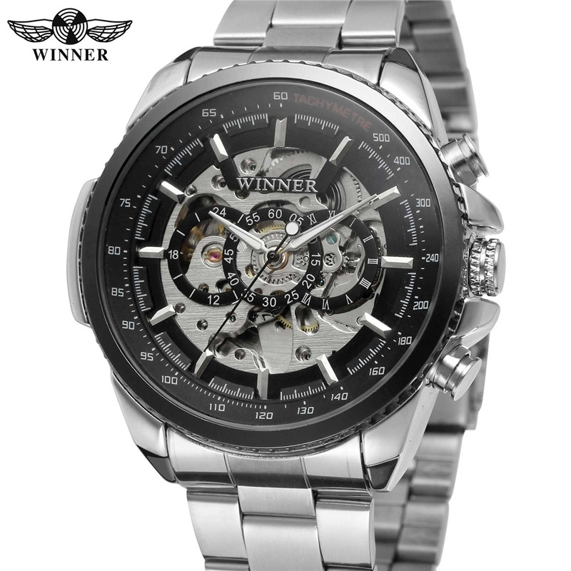 WINNER Mens Watches Automatic Mechanical Skeleton Top Brand Luxury Men Wrist Watch Full Steel Sport Military Male Clock Hot 0352
