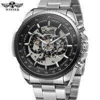 WINNER Mens Watches Automatic Mechanical Skeleton Top Brand Luxury Men Wrist Watch Full Steel Sport Military