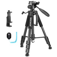 Neewer 56 inches Aluminum Camera Tripod with 3 Way Swivel Pan Head,Cellphone Holder,Bag for iPhone,Samsung,Huawei Smartphone,DSL