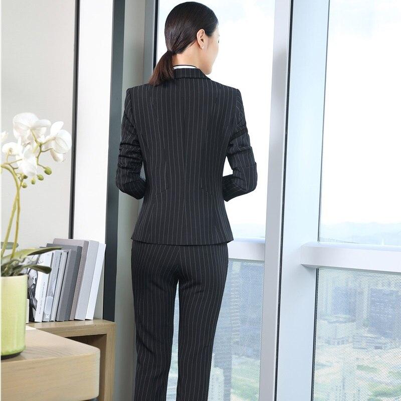 black Chaquetas De Pantalón Blue Rayas Tamaño Dark Slim Para Invierno Otoño Striped Conjuntos Con Pantalones Striped Trajes Más Señoras Oficina Y La dwR0dSXxq