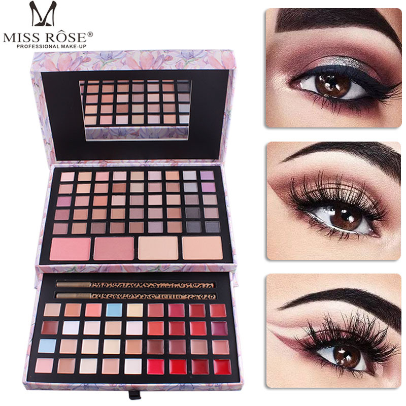 Miss Rose 45 Color Makeup Eyeshadow Palette Pink Cosmetic Box Matte Eye Shadow Lip Gloss Blush Collection Beauty Makeup Set Tool miss rose professional 144 color 3 color blush 3 color eyebrow cosmetic makeup kit