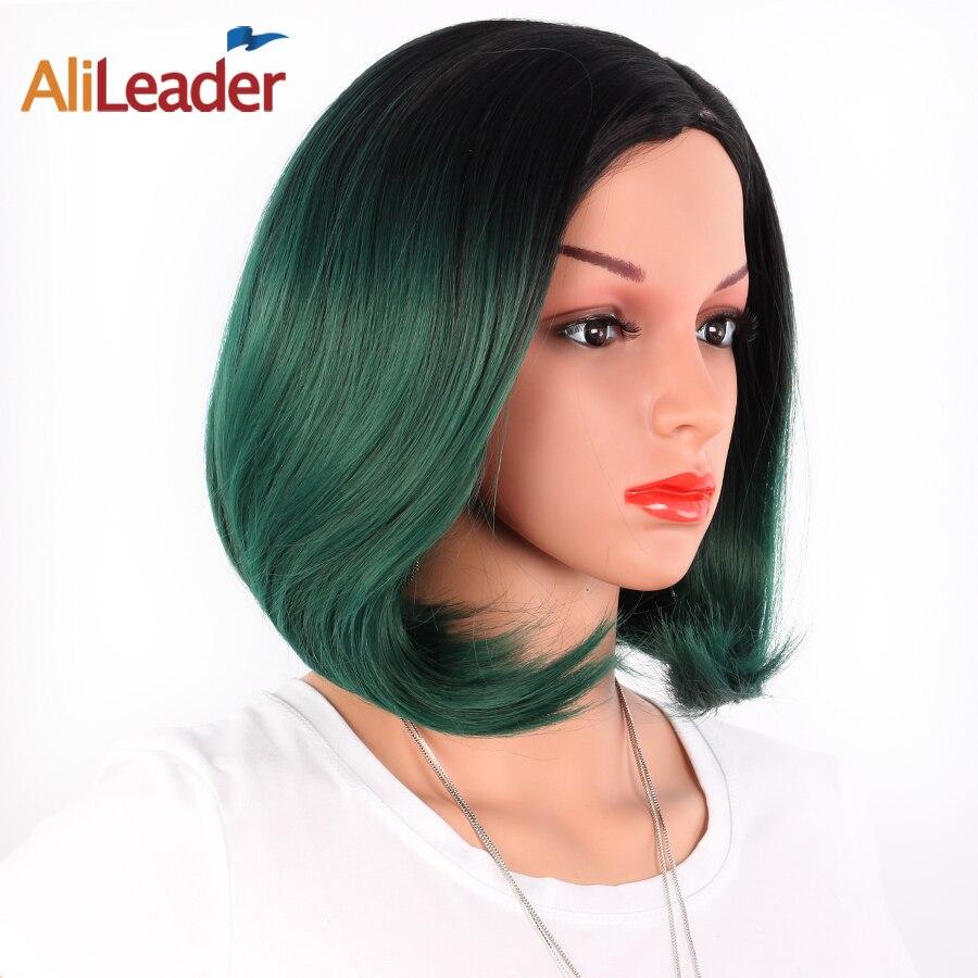 AliLeader Africano Americano Parrucche Bob Breve Lunghezza Della Spalla Ombre Bionda Verde 8 Colori Etero Parrucche Sintetiche Per Le Donne Nere