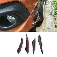4pcs High Quality Universal Carbon Fiber Front Bumper Spoiler Fins Lip Kit Air Knife For VW Passat Golf For BMW car accessories