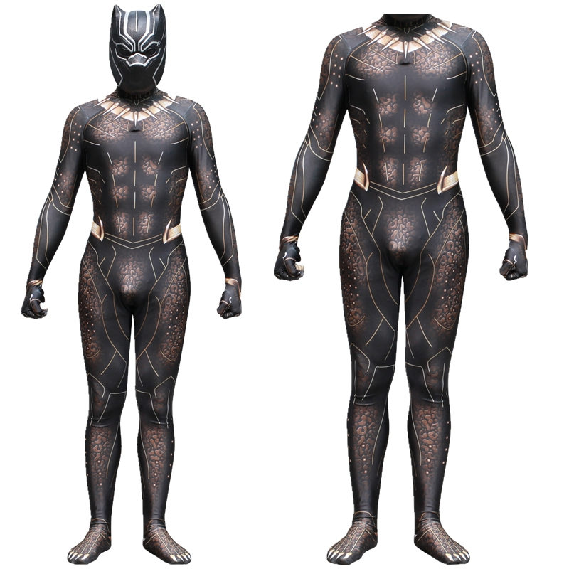 FOGIMOYA Black Panther Erik Killmonger Gold Jaguar Cosplay Costume Jumpsuit Fancy Zentai Mask