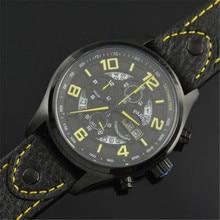 Новый Parnis 43 мм Черное PVD Черный циферблат Желтый Номер Японские Кварцевые Деловых людей Наручные Часы
