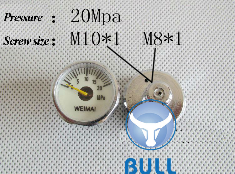 BULL 20mpa high pressure gauge for constant pressure valve pcp- factory outlet on sale r134a single refrigeration pressure gauge code 1503 including high and low