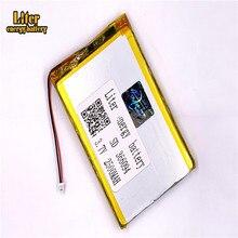 366094 2500 mah 3,7 V 1,0 мм 2pin разъем литий-ионный полимерный аккумулятор Батарея Перезаряжаемые для электронных книг gps планшет PDA PC Батарея