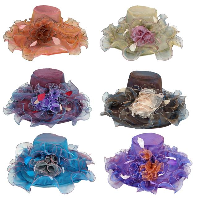 CRUOXIBB New Brand Women's Sun Hat Fashion Europe Style DIY Net Yarn Wide Brim Hat Casquette Women Hat Summer Beach Bone Caps