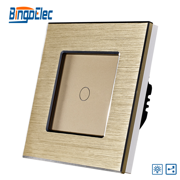 EU/UK golden color aluminum metal panel 1gang two way dimmer switch, touch dimmer light switch,lamp switch suck uk