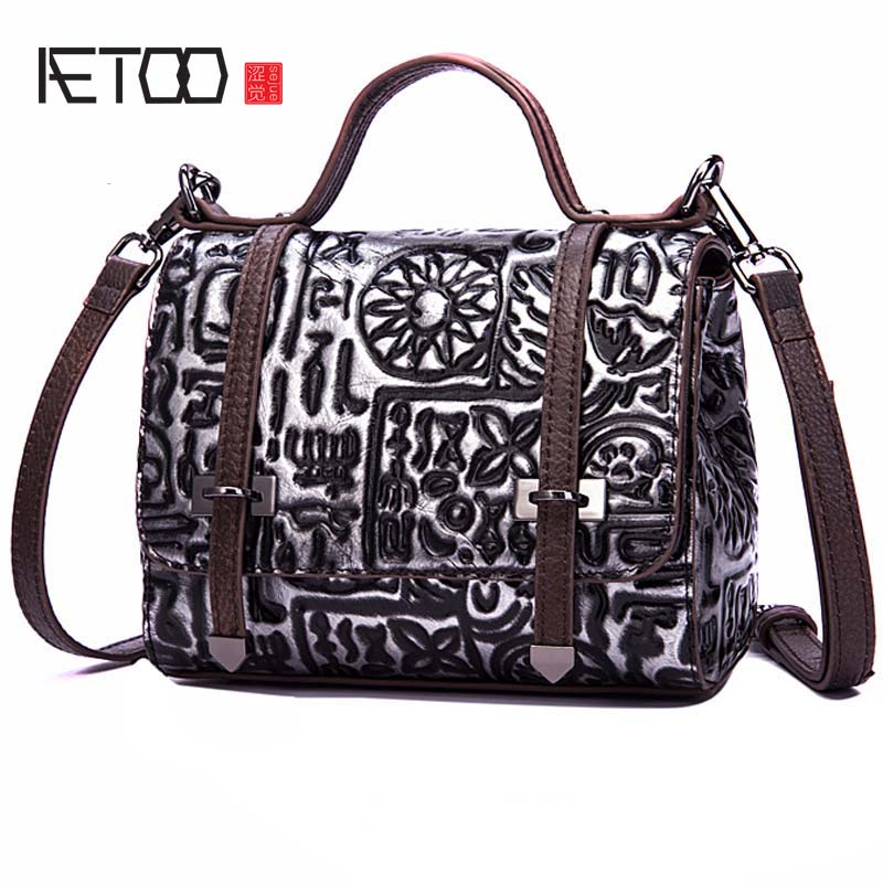 AETOO The new first layer of leather women s retro brushing color embossed  fashion shoulder diagonal portable 8d9a560d04