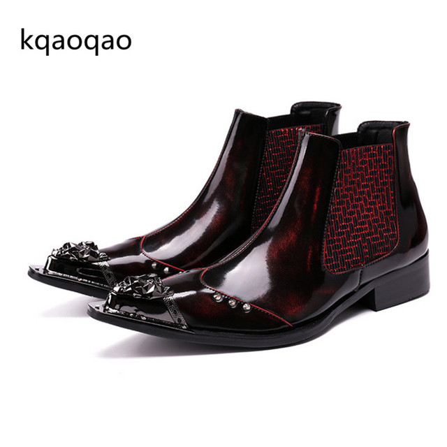 71d1772b15a kqaoqao Red Wine Color Men Shoes Slip-on Rivets Metal Ankle Boots Fashion  Real Leather Shoes Cowboy Oxfords Sapato Masculino 46