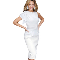 New Women Vintage One Shoulder Ruffles Slimming Bodycon Dresses Elegant Stylish Draped Ruched Tunic Waist Sleeveless