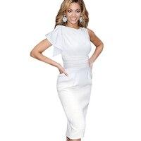 New Women Vintage One Shoulder Ruffles Slimming Bodycon Dresses Elegant Stylish Draped Ruched Tunic Waist Sleeveless
