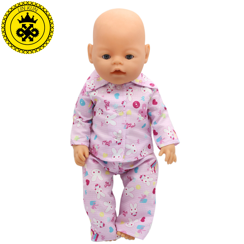 Handmade Baby  Pajamas Suit Doll Clothes Fit 43cm Baby  Doll Clothes Baby Birthday Gift Doll Accessories 023