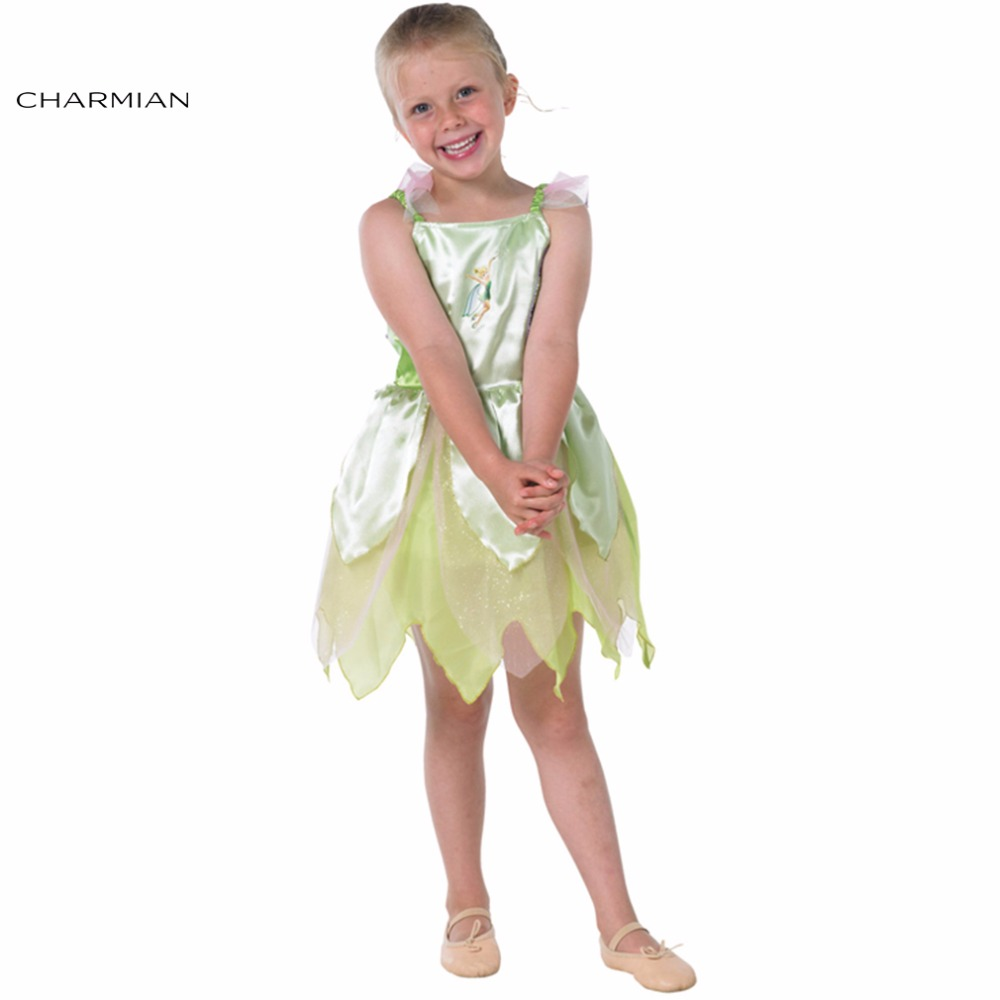Charmian Cute Tinkerbell Costume for Girls Cosplay Fancy Dress Kids Masquerade Party Halloween Costume Tinker Bell Cosplay
