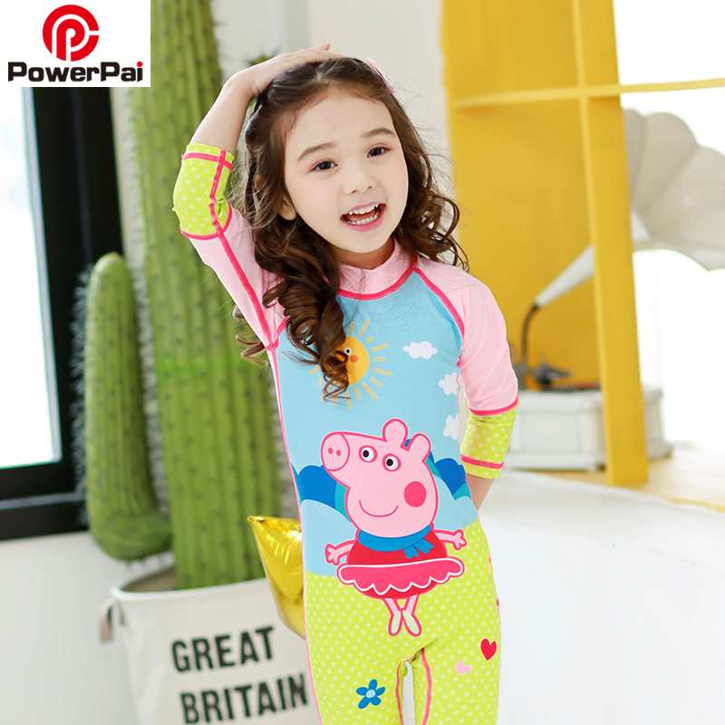 Cartoon Children One Piece Swimsuit kids Rash Guard Swimwear Long Sleeve For Girl Boy Surf Diving Suit Wetsuit Pink Pig George