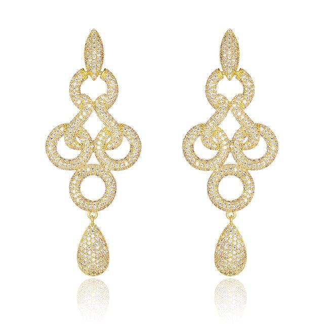 Fancy Shiny Austrian Crystals Drop Earrings Gold Plated Women's Gift Knot Twisted Cubic Zirconia Earrings