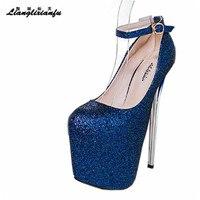 LLXF zapatos Plus: 34-44 45 46 47 Défilés plates-formes Sexy 19 cm à talons hauts Paillettes Chaussures femme Stylet femmes boucle Pompes