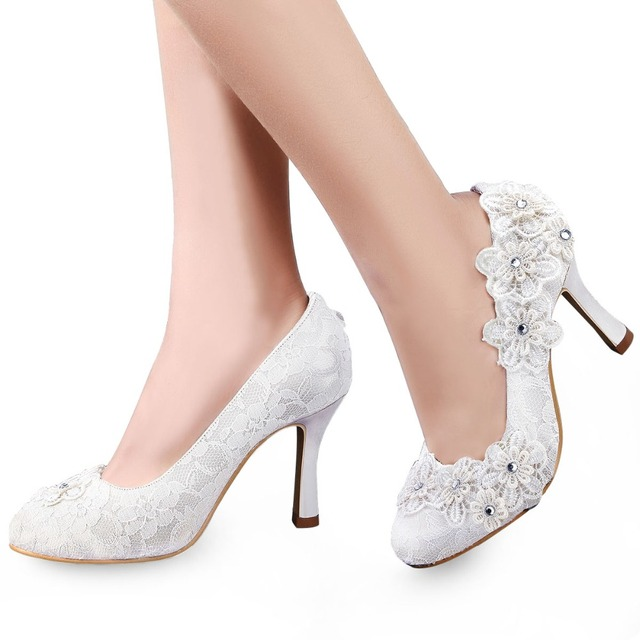 EP11099 Women Shoes Bride Ivory White Closed Toe High Heels 3.5   Bridal  Party Pumps 115457c4024d