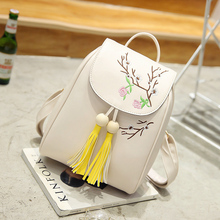 Floral Women Leather Tassel Backpack New Arrival 2017 Korean All Match For Teenager Girl School Bags Vintage Feminine Backpacks