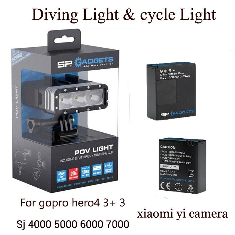 Дайвинг вспышка света Велосипедов лампа + 2 шт. батарея + монопод для Gopro go pro HERO4 3 + 3 xiaomi yi sj4000 камеры аксессуары