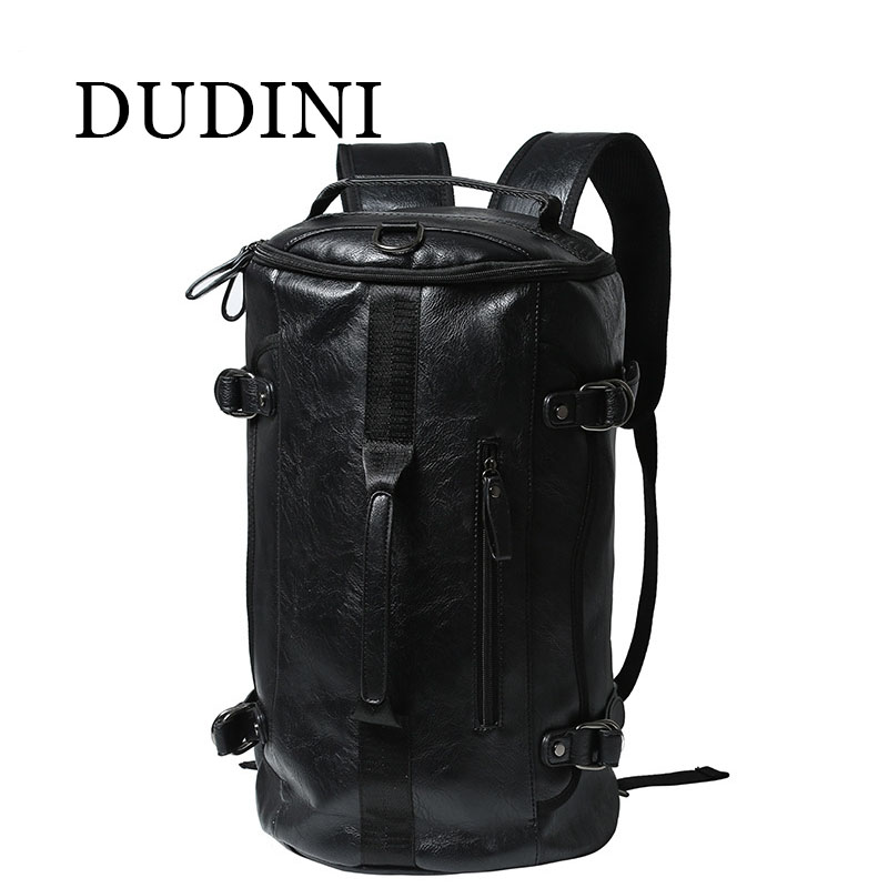 ФОТО DUDINI Vintage Classic Pu Leather Bagpack Backpacks Women Men Travel Big Capacity Bag Pack Korean Designer Backbag Rucksack