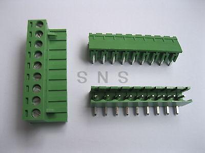 30 pcs 5.08mm Angle 9 pin Screw Terminal Block Connector Pluggable Type Green 150 pcs screw terminal block connector 3 5mm angle 7 pin green pluggable type