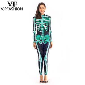 Image 1 - VIP FASHION 2019 New Goods 3D Skull Bone Skeleton Print Rompers Western Halloween Costumes For Ladies Jumpsuit Costplay Bodysuit