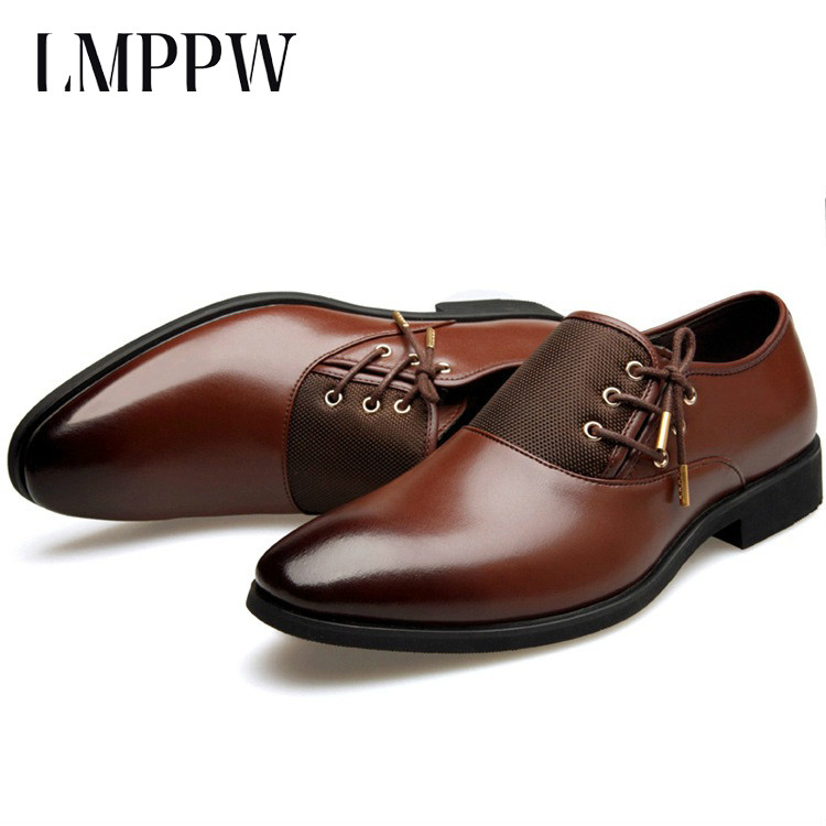 Luxury Brand Men Business Dress Shoes Black Brown Leather Casual Shoes Pointed Toe Lace-up Men Wedding Party Shoes Oxfords okhotcn male pointed toe cow leather shoes daily plaid men casual business dress shoes oxfords men flat lace up sapato masculino