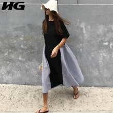 [HG] Summer 2018 New Arrival Women Korea Fashion O-neck Short Sleeve Loose Dress Female Striped Casual Knee-length Dress CXB1150