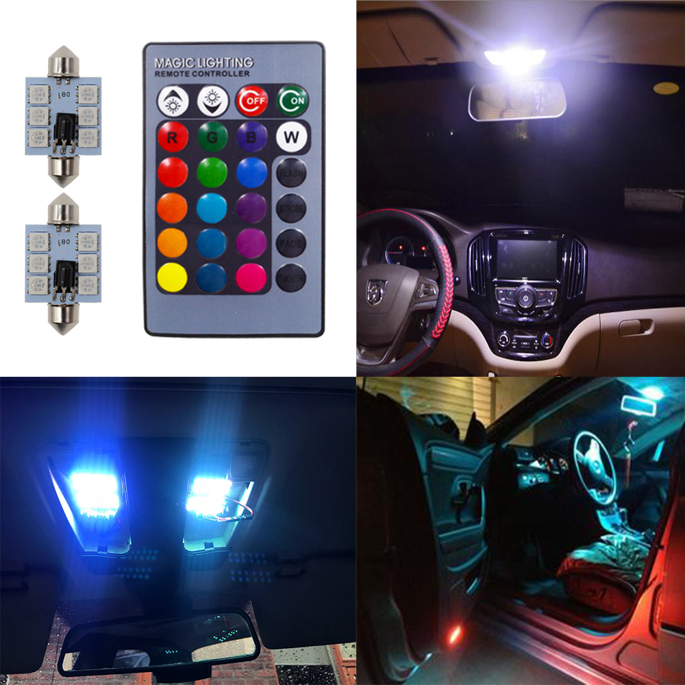 2X RGB 5050 6SMD Festoon Light c5w Dome Light Car Led Auto mobile Auto Remote Controlled Colorful Reading Lamp Roof trunk Bulbs