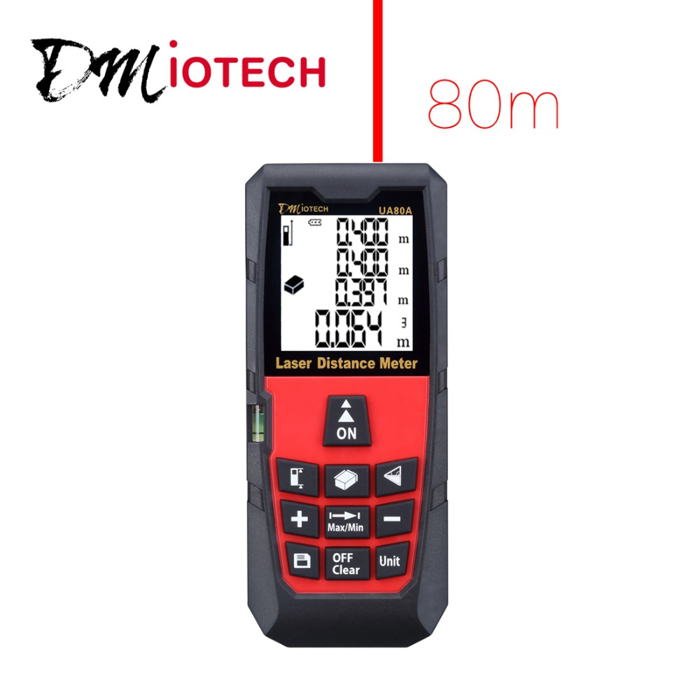 DMiotech 80m 262ft Mini Digital Distance Meter Rangefinder Measure Tape Diastimeter  dmiotech 262ft 80m mini handheld digital laser distance meter rangefinder red with tripod