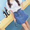 Nueva Alta Cintura del Dril de algodón de Las Mujeres Saia Una Línea Falda Jeans Ladies Vaquera Ropa Delgada de La Cadera Falda Corta Saia Feminina Coreano estilo