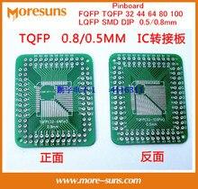 Fast Free Ship 100PCS/lot Pinboard FQFP TQFP 32 44 64 80 100 LQFP SMD DIP 0.5/0.8mm adapter plate