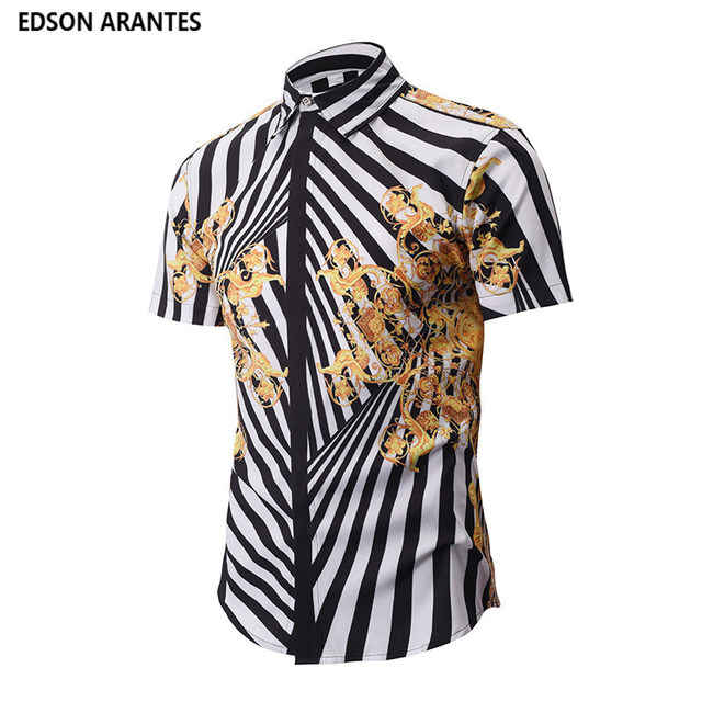 ae9825431ad9 EDSON ARANTES Male Shirt Short Sleeve Camisa Masculina Summer Floral Hawaiian  Shirt Streetwear Casual Slim Fit 3D Unique Shirts