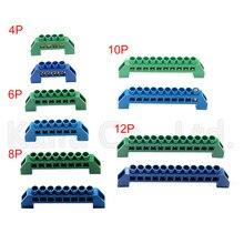 1 шт. мост дизайн нулевой линии 4-12 полюсный винт латунь медь заземление полосы клеммный блок разъем земля и нейтральный синий зеленый