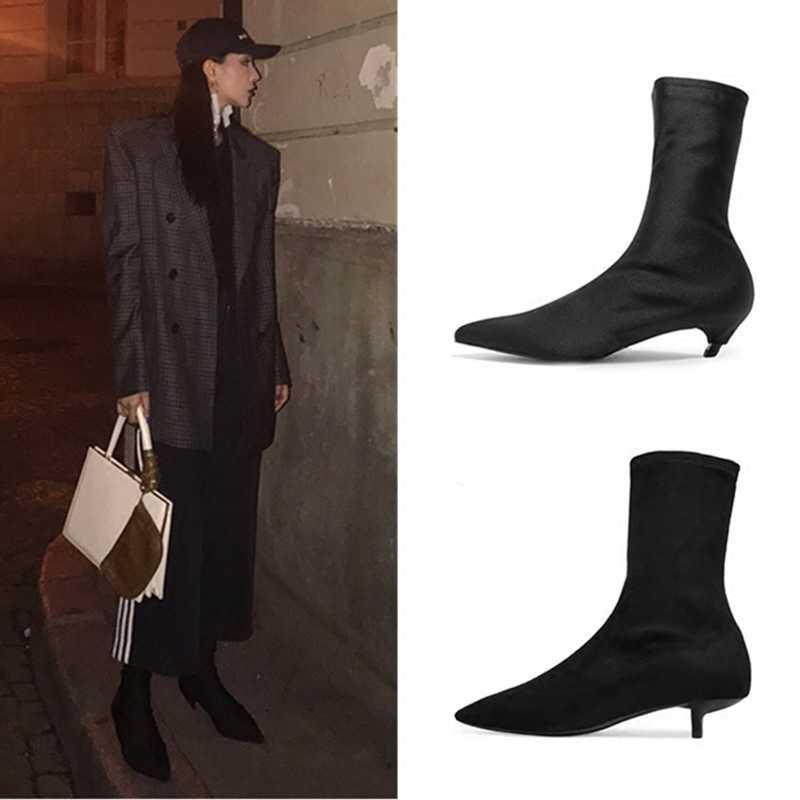 famous designer lycra kitten heel boots