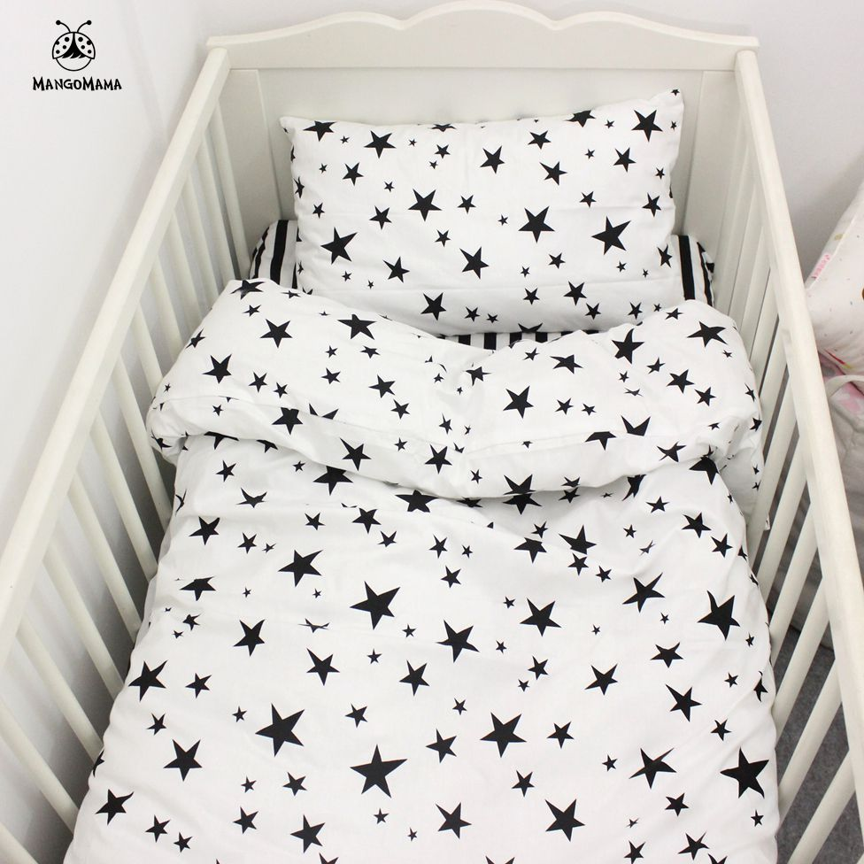 Black and white striped bed sheets - 3pcs A Set Baby Bedding Set Black Star And Stripe Design 100 Cotton Kids Bedding