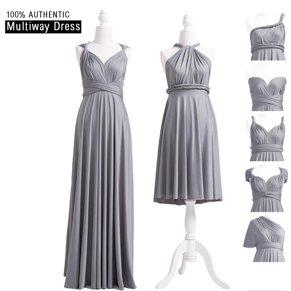 Grey Infinity Bridesmaid Dress Long Multiway Dress Sliver Grey Wrap Maxi  Dress Convertible Dress With Halter 113432adf7ea
