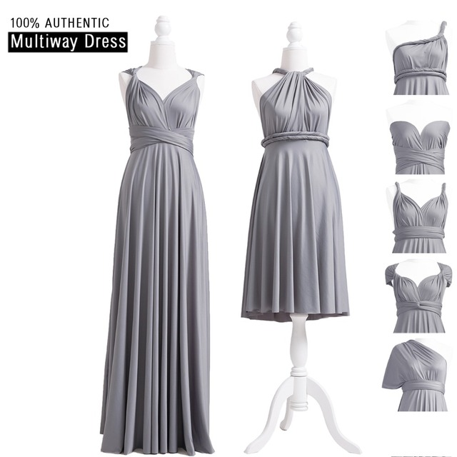 54045070402 Grey Infinity Bridesmaid Dress Long Multiway Dress Sliver Grey Wrap Maxi  Dress Convertible Dress With Halter Styles