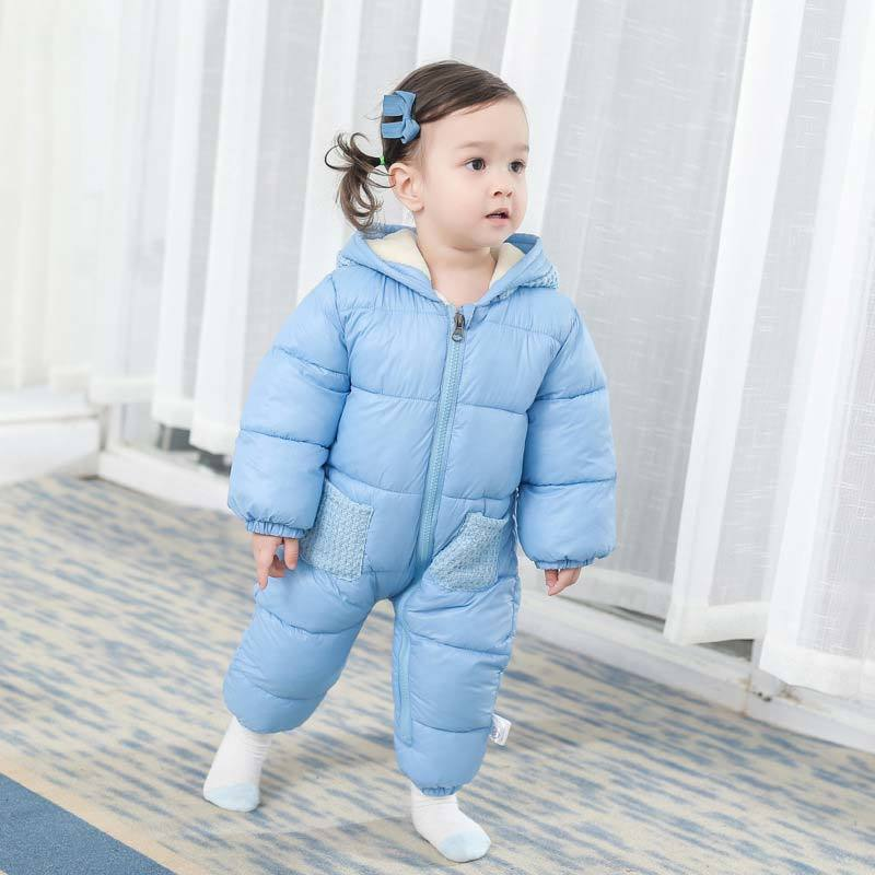 Baby Girl Clothes New Toddler Boy Winter Hooded Rompers Thick Warm Down Cotton Outfit Jumpsuit For Children Overall Baby Costume цена 2017