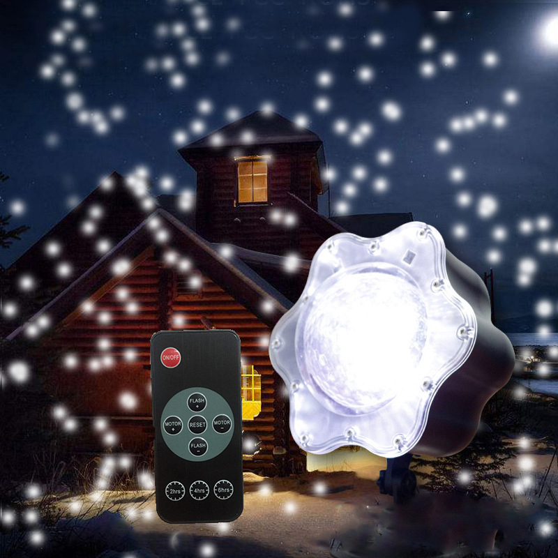 New Year Laser Christmas Snow Projector Lamps Outdoor Snowflake Projector  Romantic Garden Home Party Disco Stage Light LED newyear waterproof led snowflake laser projector lamps stage light christmas party garden home decoration outdoor