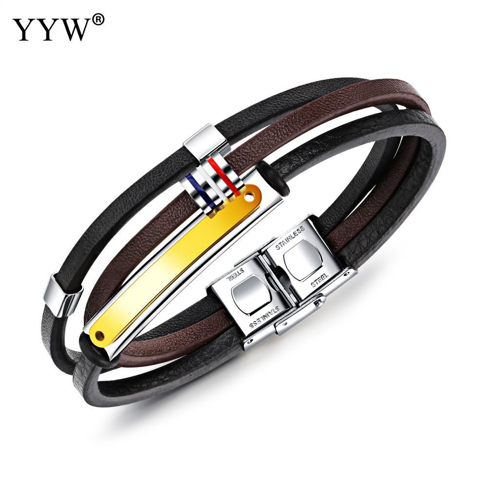 2018New Bracelet Men Punk Style Stainless Steel Brown Black Color Leather Bracelet for Men Jewelry Braid Chain Beads Accessories