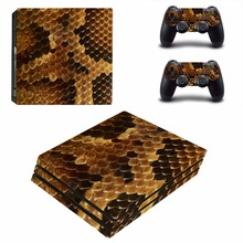 snake skin vinyl Decal Skin Sticker For Sony Playstation 4 PS4 Pro promotion Console Flims +2Pcs Controller