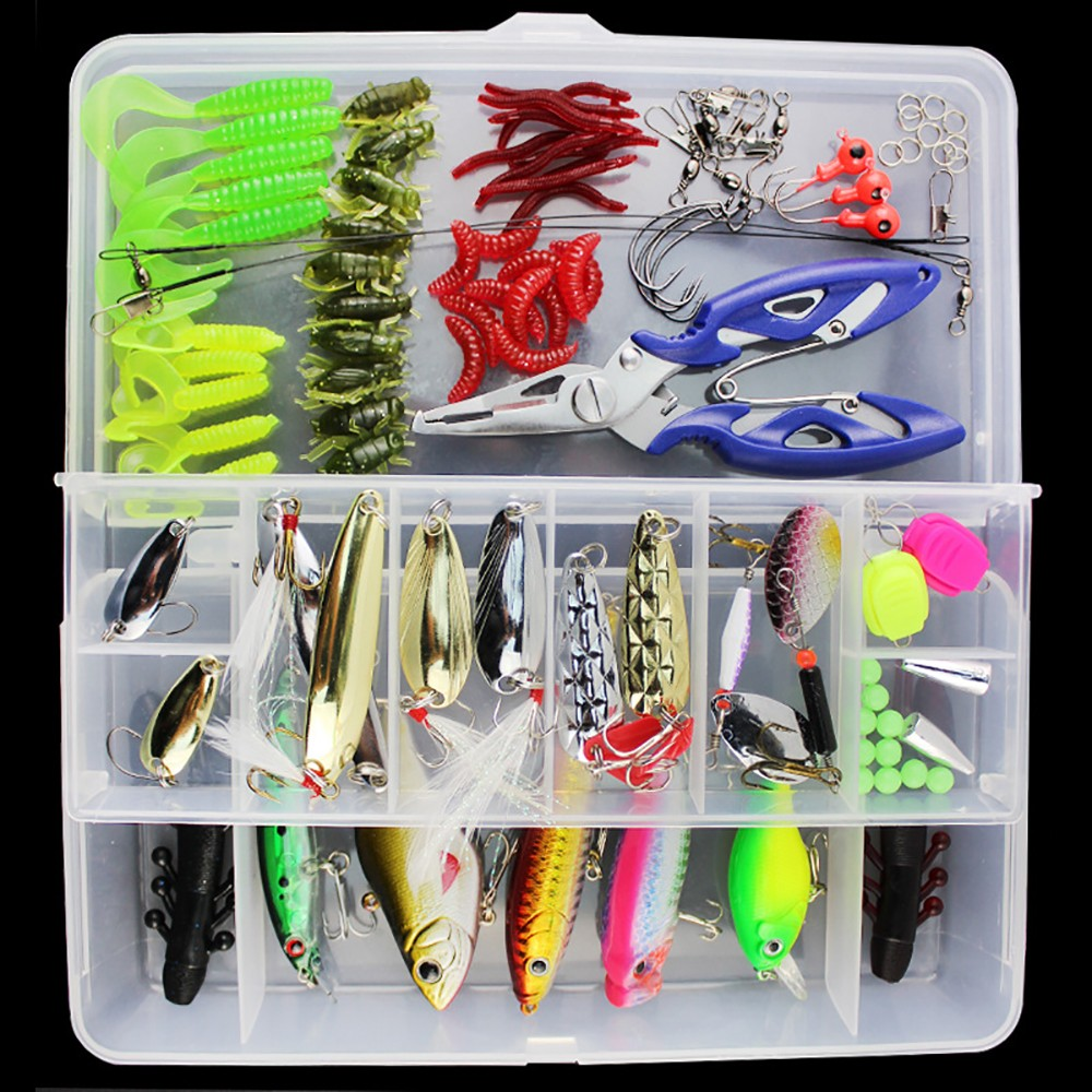 101PCS Fishing Lure Kit With Popper Crank VIB Minnow Metal Lure Soft Bait Combo Fishing Tackle Free Shipping fishing lure kit 108 pcs pack minnow popper crank spinner metal lure spoon swivel soft bait set combo tackle accessory box