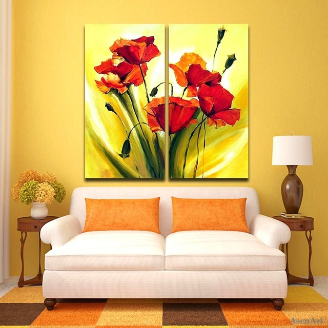 2 pieces flower painting hand painted red flower oil painting on canvas modern abstract canvas painting